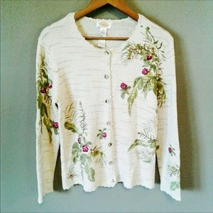 TALBOTS Embroidered Button Up Long Sleeve Sweater